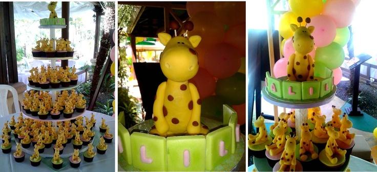 Torre de cupcakes con Jirafas en 3D