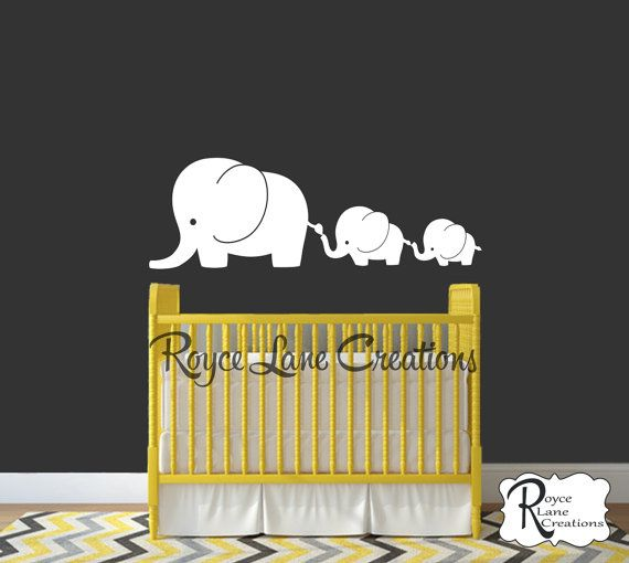 3 Elephant Family Decal    This elephant family decal can be made in any color for either a boy or girls room. The elephants can be made to