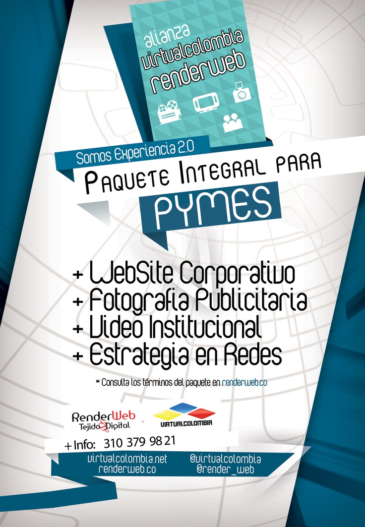 Paquete Integral para Pymes - Alianza Virtual Colombia y RenderWeb.  Más información en:  http://render-web.com/renderweb/pymes-destacado-del-mes/