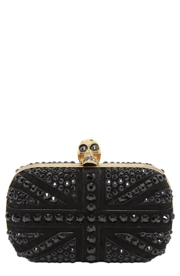 Stunning. Alexander McQueen Skull Crystal Leather Clutch