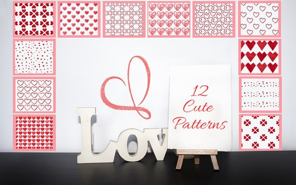 12 Cute Patterns for Valentine's Day by digitalopedia on Creative Market