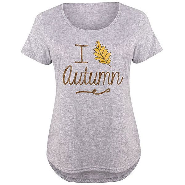 LC trendz Plus Athletic Heather 'I Leaf Autumn' Scoop Neck Tee ($17) ❤ liked on Polyvore featuring plus size women's fashion, plus size clothing, plus size tops, plus size t-shirts, plus size, cotton tees, plus size cotton tops, plus size tees, curved hem t shirt and cotton t shirts