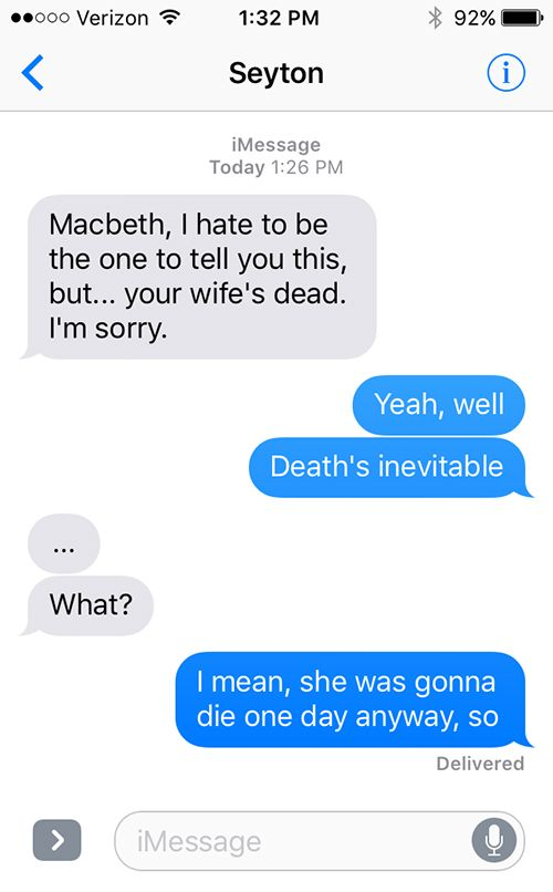 Macbeth As Told in a Series of Texts | The SparkNotes Blog | Funny