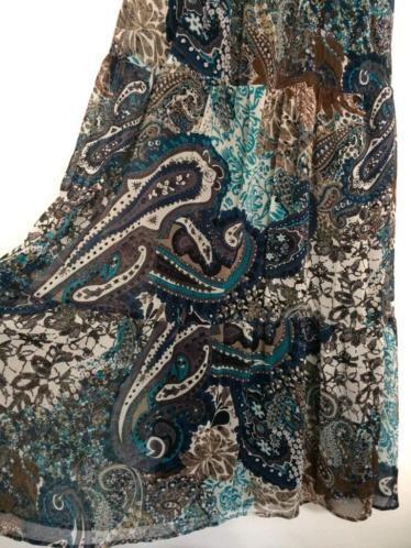 Lange zomerjurk - bohemian/gypsy, blauwe bloemenprint, mt. M €15