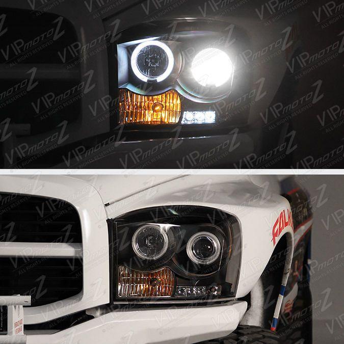 2006 2007 2008 Dodge Ram 1500 2500 3500 Black Quad Halo Projector Headlights NEW #VIPMOTOZ