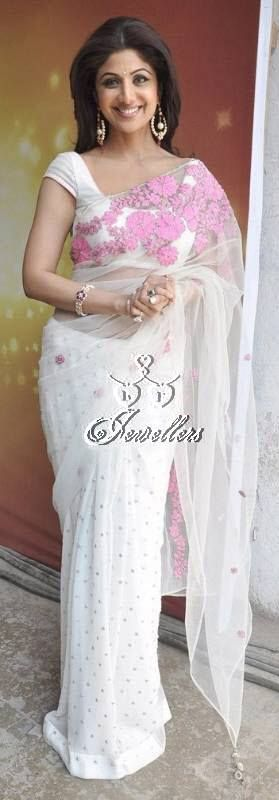 Shilpa Shetty, beautiful thread work saree   Material Used: Net  Colour: Pink and White   Price: $86 (AUD)  https://www.facebook.com/media/set/?set=a.690548291003703.1073741852.423983984326803&type=3#!/photo.php?fbid=690548397670359&set=a.690548291003703.1073741852.423983984326803&type=3&theater