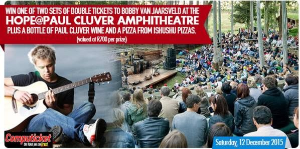We're giving away two sets of double tickets to Bobby van Jaarsveld plus a bottle of wine and a pizza, thanks to Paul Cluver Wines (worth R700 per prize). www.capetownmagazine.com  Enter now:https://apps.agorapulse.com/app/go/56377/60869