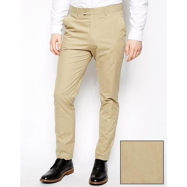 ASOS Slim Fit Suit Trousers In Poplin (15115 IQD) ❤ liked on Polyvore featuring men's fashion, men's clothing, men's pants, men's dress pants, stone, mens slim pants, mens slim dress pants, mens slim fit suit pants, mens slim fit pants and mens slim fit dress pants
