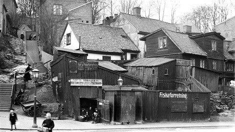 Bergfjerdingen i Christiania Før 1859 var dette en forstad til Christiania, med små trehus i lettere improvisert orden.