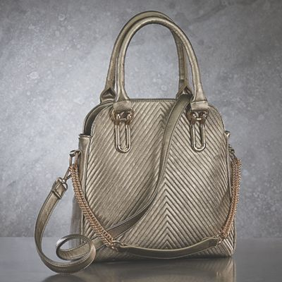 Chevron Quilted Bag from Midnight Velvet.  The understated shine of its soft pewter hue characterizes this beautiful bag with a chevron-quilted surface and goldtone hardware.
