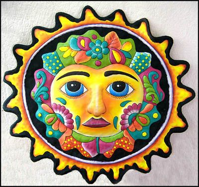 "24"" x 24"" Black Sun Design Painted Metal Wall Hanging"