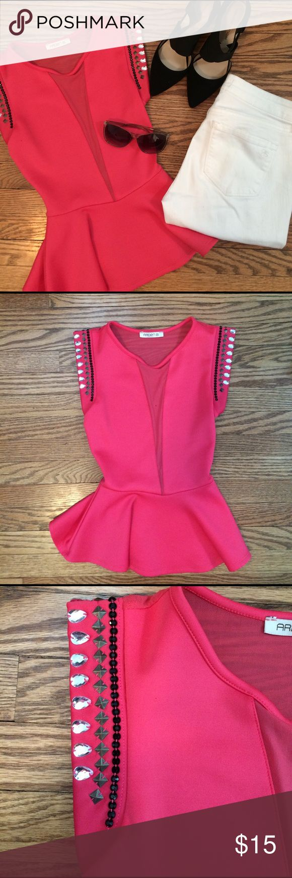 Glitzy Pink Peplum Top Sexy and glitzy pink peplum top with a sheer back and sheer slit in front. This is an eye catching top that will be sure to turn heads. There are some slight pulls in the back of the sheer fabric but mostly not noticeable. There is a small stain on the front (as pictured) but washing it or taking it to a cleaners would probably take it out! Arden B Tops