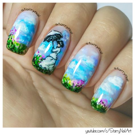 Monet Woman With A Parasol Freehand Nail Art