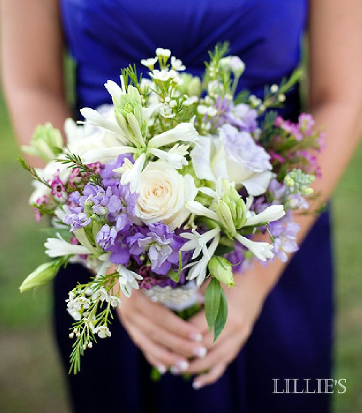 Need more blue but love the style. wildflower style bouquet of lavender stock, roses, tuberose, waxflower