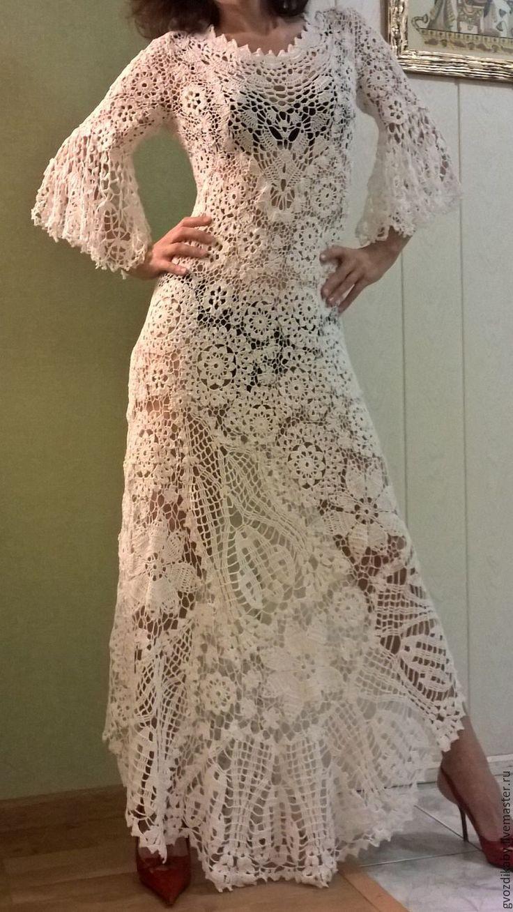 Купить Платье вязаное крючком, ирландское кружево.Ирланское вязание . - белый, абстрактный, бохо-стиль
