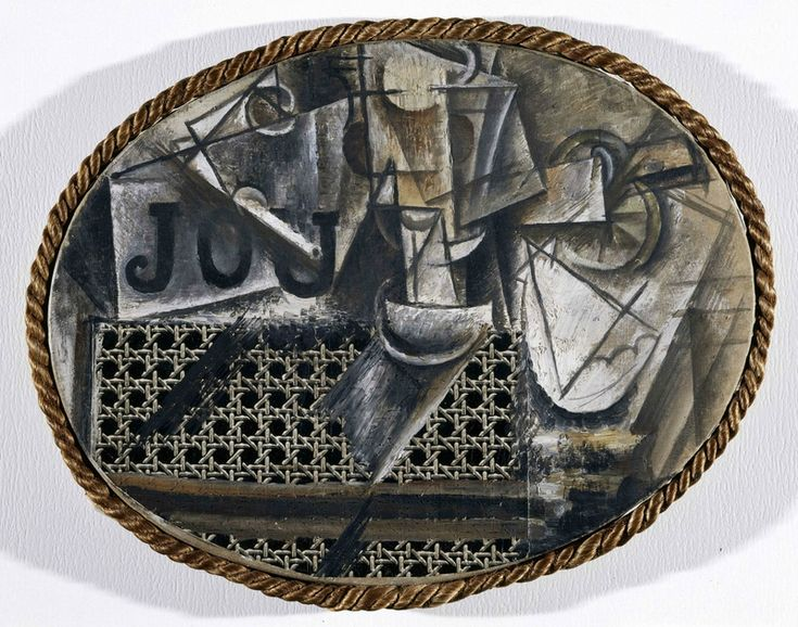 Pablo Picasso, Nature morte à la chaise cannée, 1912. Huile et toile cirée sur toile encadrée de corde, 29 x 37 cm. Dation Pablo Picasso, 1979. Inv. Nr. MP36. Musée national Picasso-Paris © Succession Picasso – SABAM Belgium 2016 Photo © RMN-Grand Palais (musée Picasso de Paris) / René-Gabriel Ojéda