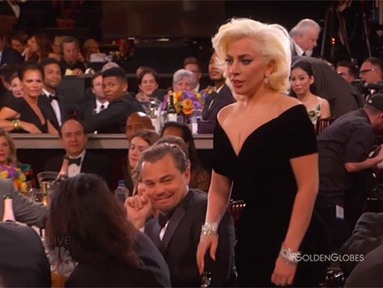 Lady Gaga Bumped into Leonardo DiCaprio While Accepting Her Award and His Reaction Was Priceless: Watch