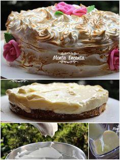 Bolo Torta de Limão, para servir bem geladinho. Discos macios de pão de ló fofíssimos, umedecidos por leite e intercalados de creme de limão, o mesmo usado na torta de limão e coberto com marshmallow maçaricado em formato de rosas ... hummm
