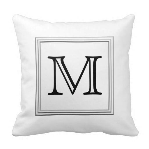 Printed Custom Monogram. Black and White. Pillows