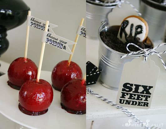 """Vintage-style Halloween Dessert Table: Old fashioned Toffee Apples and silver buckets – """"mini graves"""" filled with chocolate mousse, with crumbled chocolate Oreos (to look like dirt), and topped with a """"Honey Jumbles"""" headstone, with piped """"RIP"""" in royal icing. #halloween"""