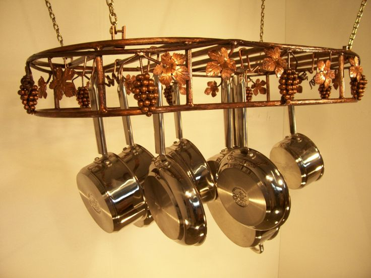 42 best copper kitchen pot racks pot stands images on for Overhead pots and pans rack