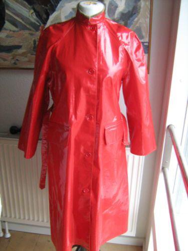 helly hansen red raincoat rain coat vinyl pvc regenmantel rubber gummi latex pvc k per. Black Bedroom Furniture Sets. Home Design Ideas
