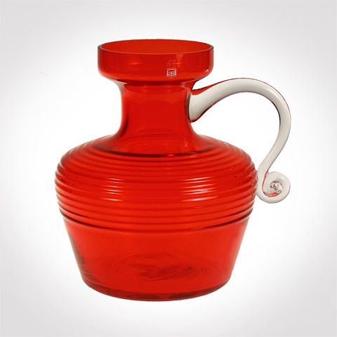 Kleopatra | Designlasi.com. Aladin, Tamara Manufacturer: Riihimäen Lasi. Designed in: 1969. In production: 1970-1972. Height: 250 mm. Turned mould blown red or green glass, clear handle. 14 different designs.