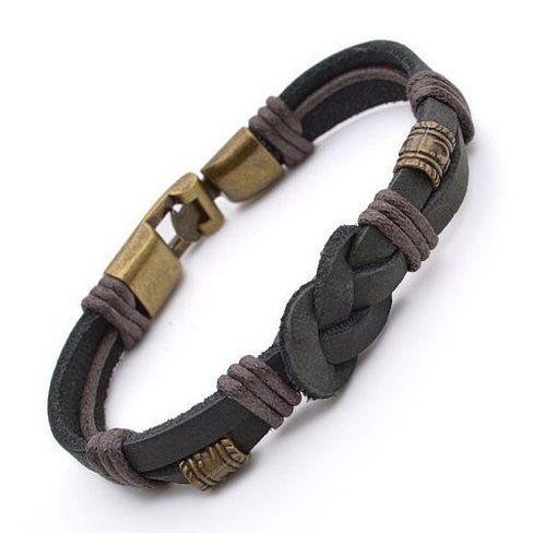An eye catching Tribal Leather Wristband Surf Black Men's Bracelet. This stylish…