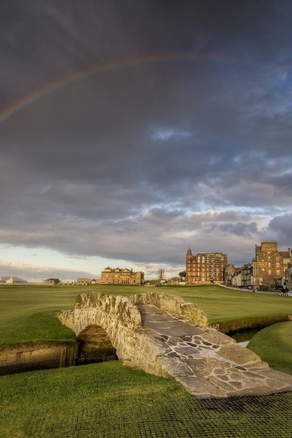 """St Andrews Bridge"" by Chris Frost The famous Swilken Bridge on the 18th Holes of Golf's home, St. Andrews Old Course on a late summer's bringing with it a perfect rainbow."