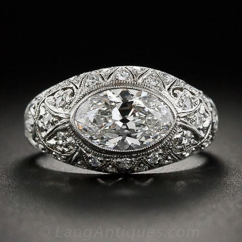 Edwardian/Early Art Deco Platinum Diamond Filigree Ring (rounded tip marquise diamond), ca. 1910-20