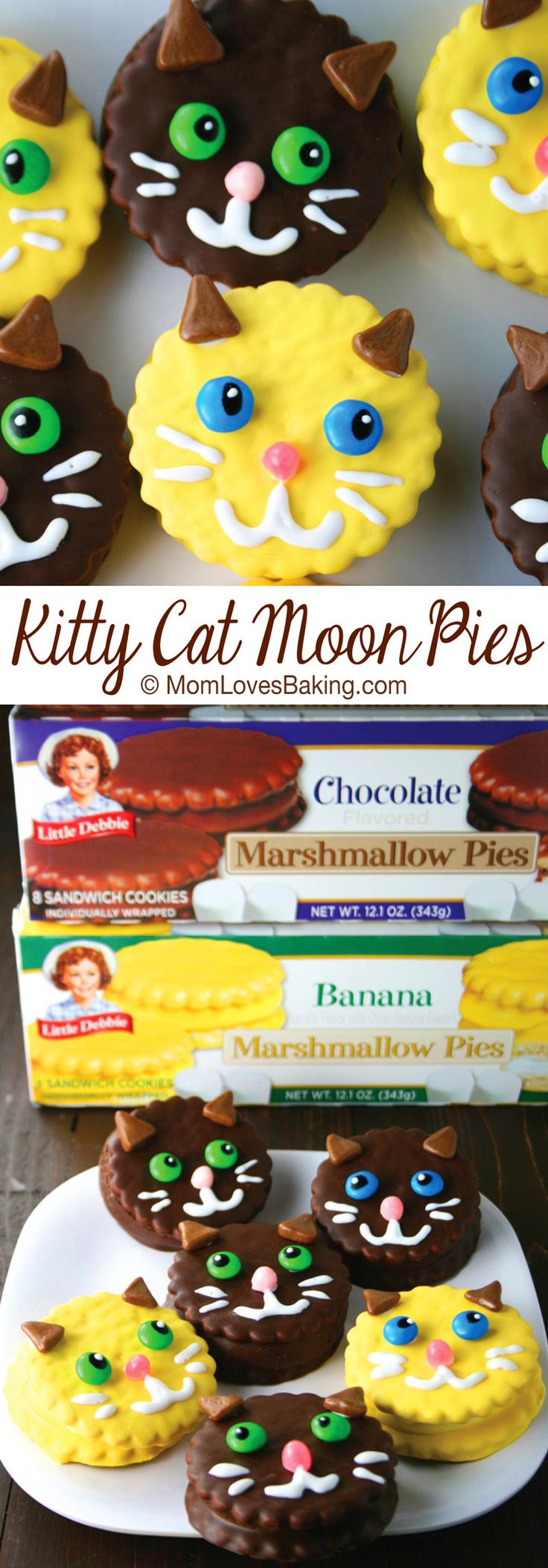 I recently entered a baking contest and guess what? I'm a runner up! Kitty Cat Moon Pies were my entry in the Food Network Dessert Creations for the Kid in All of Us sponsored by Little Debbie. Aren't they adorable!