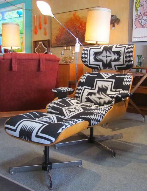 Eames Style Lounge Chair And Ottoman Reupholstered In