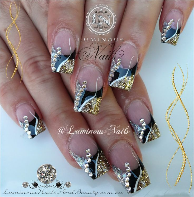 Luminous Nails: Black, Gold & Silver Nails With Bling
