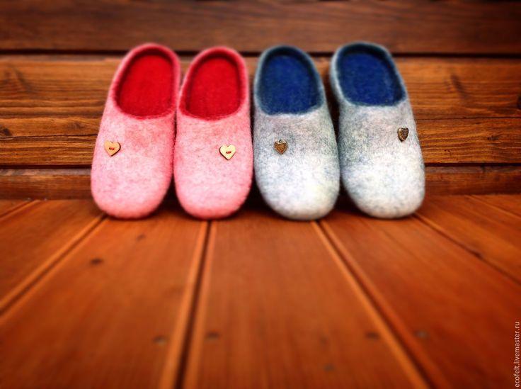 Купить Тапочки для влюблённой пары - комбинированный, подарок, домашняя обувь, обувь из войлока, тапочки