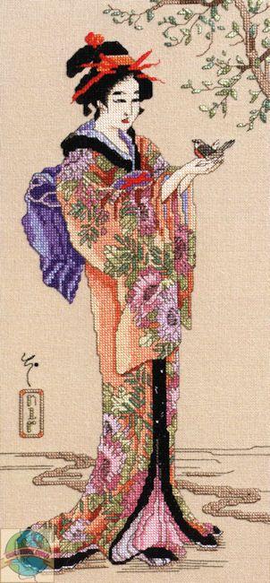 Janlynn - Geisha cross stitch / Finished
