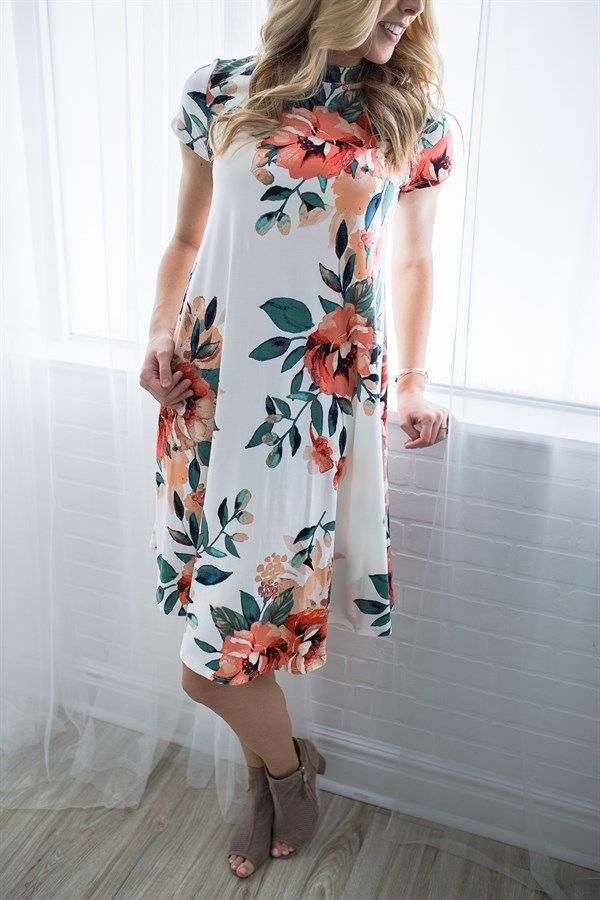 You can't go wrong with a classic floral dress! We are loving our new mock neck floral dress with it's ultra chic floral print! Wait until you feel how soft this fabric is, you won't ever want to take it off.