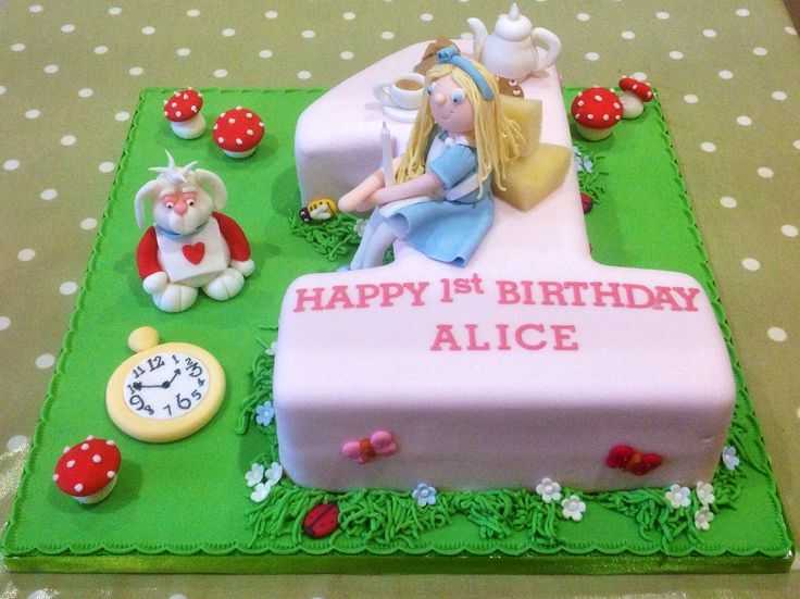 Alice in wonderland 1st birthday cake