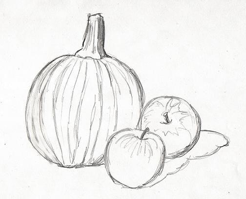 Still Life: Pumpkin and apples