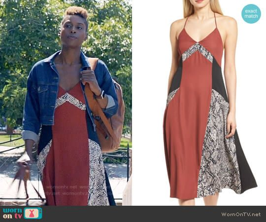 Issa's snake print colorblock dress on Insecure.  Outfit Details: https://wornontv.net/78152/ #Insecure