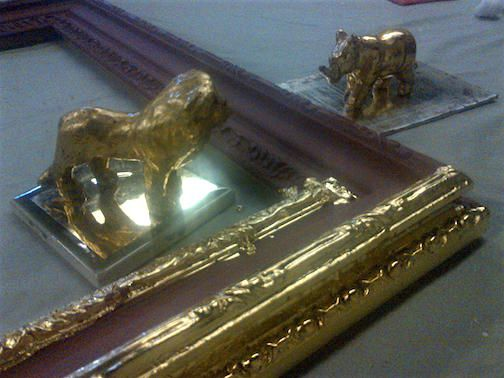 A few pieces done by students in Traditional Water Gilding Class. Classes held in Seattle and New York. http://www.gildingstudio.com/gilding_classes.html