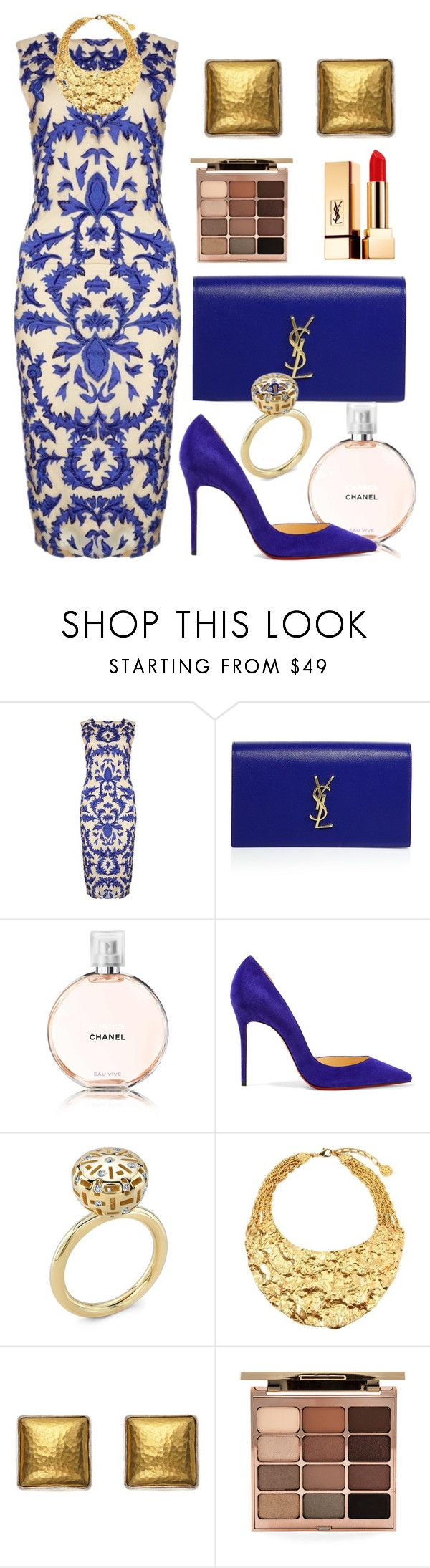 """""""Date"""" by debbie-grajeda ❤ liked on Polyvore featuring Alice + Olivia, Yves Saint Laurent, Chanel, Christian Louboutin, Ben-Amun, Gurhan and Stila"""