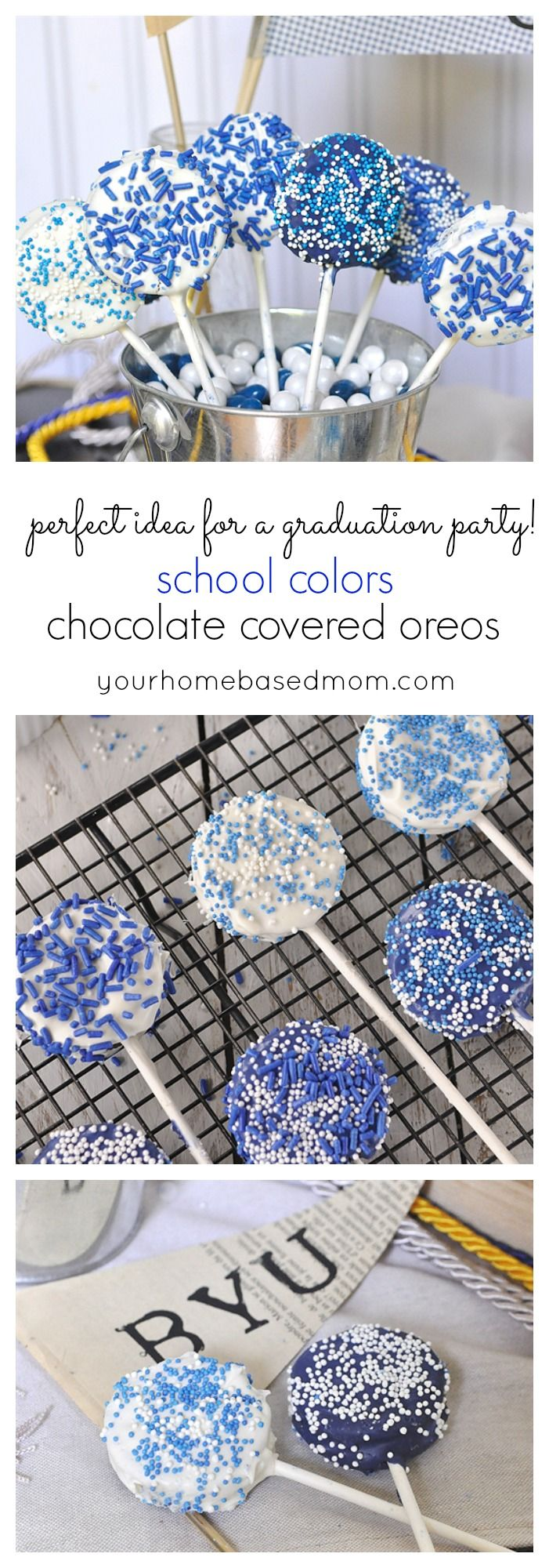 School Color Chocolate Covered Oreos are perfect for your graduation party! Fun graduation party food.