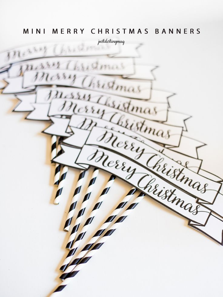 FREE PRINTABLE Mini Merry Christmas Banners. Perfect for the tree, gifts, and parties! In Red,Black and Gray  -Just Destiny Mag