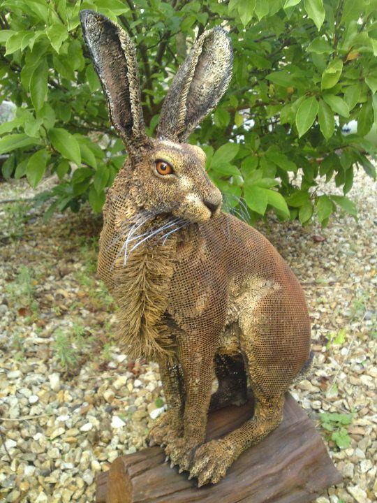 Hare sculpture in metal mesh and mixed media, by Matt Cummings