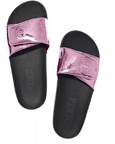Victorias Secret Pink Crossover Slides Metallic Pink Berry Gelato Large * Check out this great product.