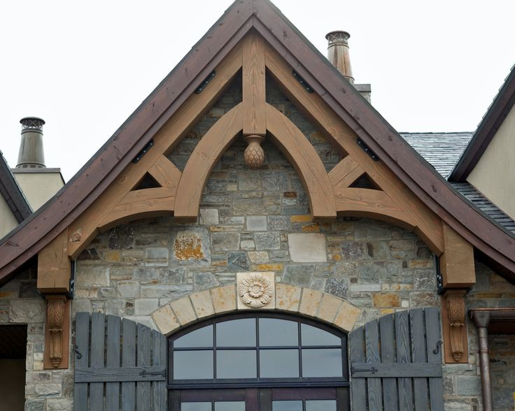 Heavy Timber Douglas Fir Gable Truss Custom Carved Final