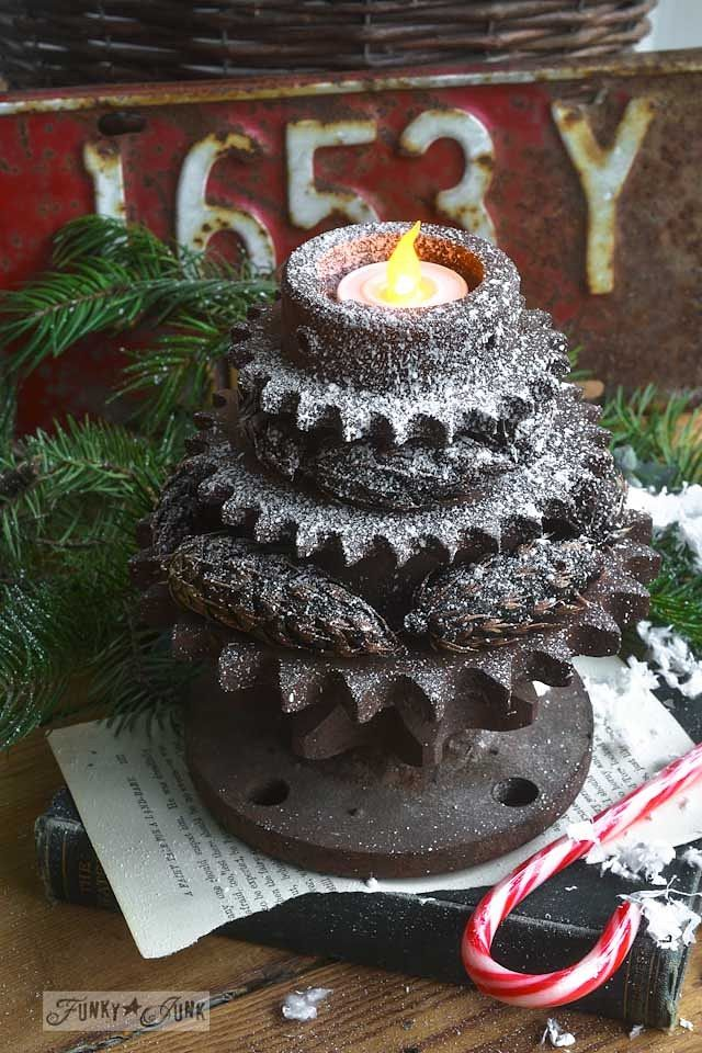stacked gear Christmas tree tea lights Christmas Already