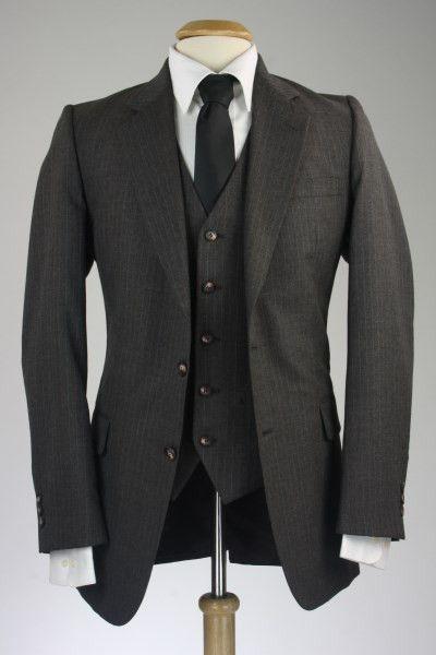 Vintage Gray Pinstripe Wool 3 Piece Suit 40 R