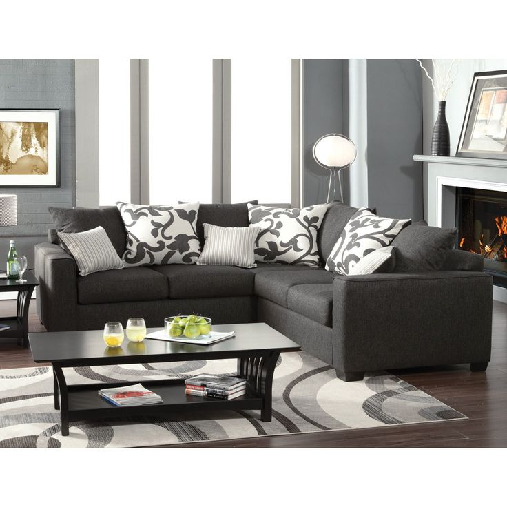 Contemporary Furniture Torrance: Furniture Of America Lleida 2-Piece Fabric Sectional Sofa