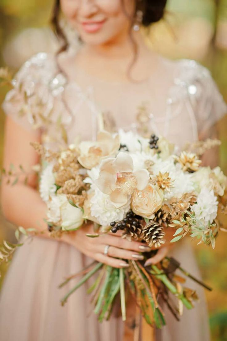 Золото черный свадебное вдохновение - золотой букет